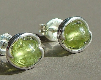 Peridot Studs Peridot Earrings Tiny Peridot Post Earrings Wire Wrapped in Sterling Silver Stud Earrings Birthstone Earrings Peridot Studs