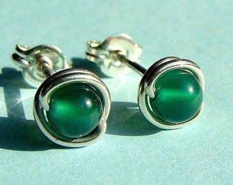 Tiny Emerald Green Onyx Studs Post Earrings Wire Wrapped in Sterling Silver Stud Earrings Onyx Studs