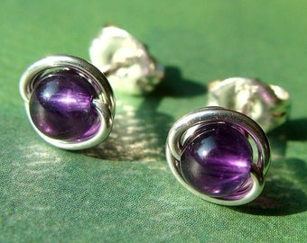 Tiny Amethyst Studs Amethyst Earrings Earrings Wire Wrapped in Sterling Silver Post Earrings Studs Birthstone Earrings