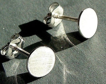 Flat Studs 6mm Tiny Round Flat Disc Studs Sterling Silver Post Earrings Stud Earrings Studs
