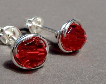 Red Studs Light Siam Studs Red Crystal Studs Swarovski Crystal 8mm Post Earrings Wire Wrapped in Sterling Silver Stud Earrings Studs