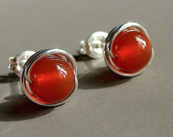 Carnelian Studs 6mm 8mm Carnelian Earrings Wire Wrapped in Sterling Silver Post Earrings
