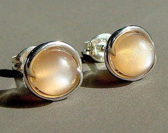 Moonstone Studs 6mm Peach Moonstone Post Earrings in Sterling Silver Stud Earrings