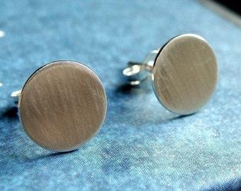 Flat Studs Flat Disc Earrings 9mm Sterling Silver Post Earrings Stud Earrings Studs Metal Earrings