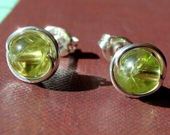 Peridot Earrings Peridot Studs 6mm Peridot Post Earrings in Sterling Silver Stud Earrings Studs Birthstone Earrings