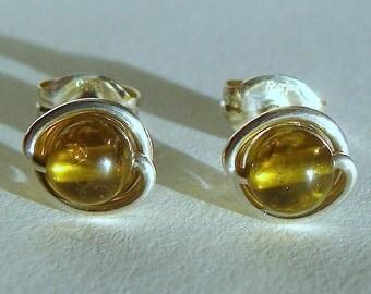 Green Grossular Garnet Studs 7mm 8mm Garnet Earrings Green Garnet Wire Wrapped Earrings in Sterling Silver Stud Earrings Garnet Studs
