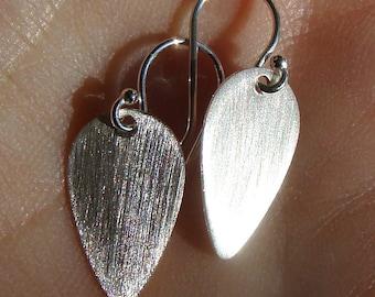 Brushed Small Teardrop Drop Earrings Sterling Silver Dangle Earrings