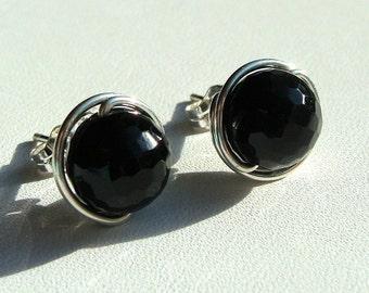 Black Onyx Studs 5mm Faceted Black Onyx Post Earrings in Sterling Silver Stud Earrings Onyx Studs