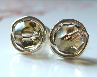 Crystal Bronze Studs 8mm Swarovski Crystal Post Earrings Wire Wrapped in Sterling Silver Stud Earrings Studs
