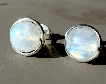 Moonstone Studs 7-7.5mm Rainbow Moonstone Stud Earrings in Sterling Silver Post Earrings Moonstone Studs Birthstone Earrings