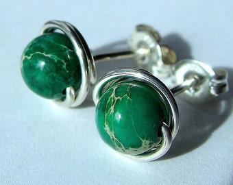 Green Jasper Studs 6mm Green Terra Jasper Studs Earrings Wire Wrapped in Sterling Silver Post Earrings