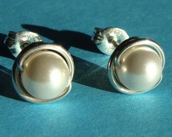 Crystal Pearl Studs 8mm White Swarovski Pearl Post Earrings in Sterling Silver Stud Earrings Studs