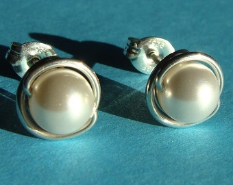 8mm White Swarovski Pearl Post Earrings in Sterling Silver Stud Earrings Studs