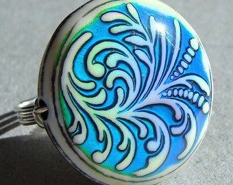 Fern Mood Ring Color Changing Novelty Ring Wire Wrapped in Sterling Silver Fluer de Lis Cocktail Ring Statement Ring