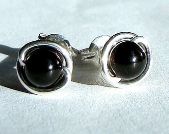 Black Onyx Studs 5mm Black Onyx Earrings in Sterling Silver Post Earrings Onyx Studs