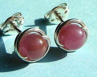 Ruby Studs Tiny Ruby Post Earrings Wire Wrapped in Sterling Silver Earrings Ruby Studs Birthstone Earrings