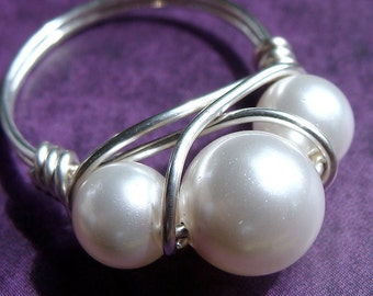 Pearl Ring White Swarovski Pearl Ring Wrapped in Sterling Silver