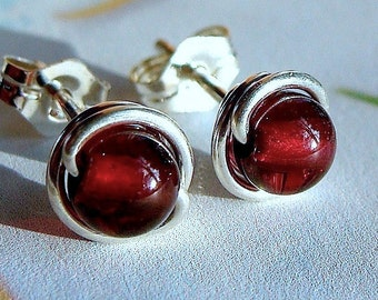 Garnet Studs Tiny Garnet Post Earrings Wire Wrapped in Sterling Silver Stud Earrings Birthstone Earrings Garnet Studs
