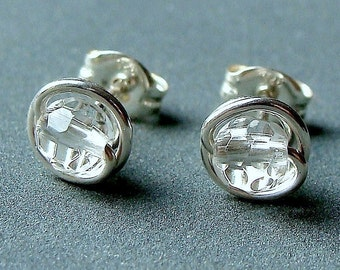 Tiny Faceted Crystal Quartz Stud Earrings Wire Wrapped in Sterling Silver Post Earrings Studs