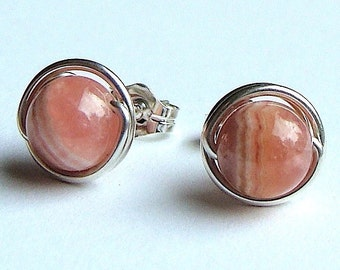 Rhodochrosite Studs 6mm Rhodochrosite Post Earrings Wire Wrapped in Sterling Silver Stud Earrings Studs