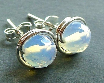 Sea Opal Studs Faceted 6mm Opalite Studs Sea Opal Post Earrings Wire Wrapped in Sterling Silver Stud Earrings