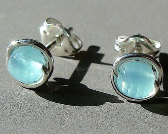 Blue Chalcedony Studs Tiny Faceted Sea Blue Chalcedony Post Earrings Wire Wrapped in Sterling Silver Stud Earrings