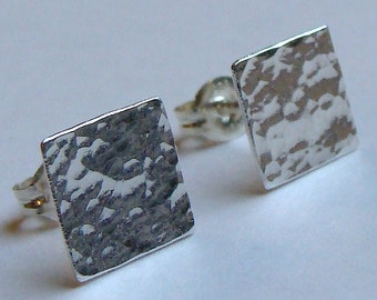 Flat Studs Square Studs 8mm Square Hammered Studs Sterling Silver Earrings Silver Post Earrings Stud Earrings Studs