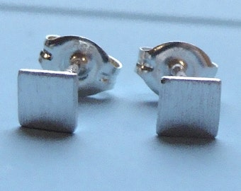 Flat Square Studs 5mm Square Micro-Mini Post Sterling Silver Earrings Stud Earrings Square Studs