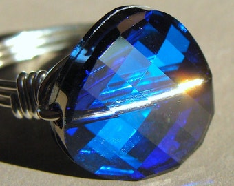 18mm Crystal Twist Bermuda Blue Swarovski Crystal Cocktail Ring Wire Wrapped in Sterling Silver Statement Ring