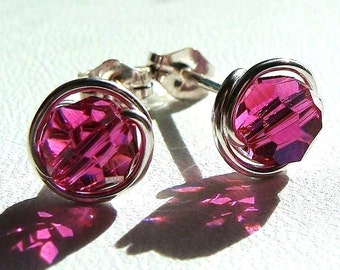 Pink Crystal Studs 8mm Fuchsia Swarovski Crystal Stud Earrings Wire Wrapped in Sterling Silver Post Earrings Studs