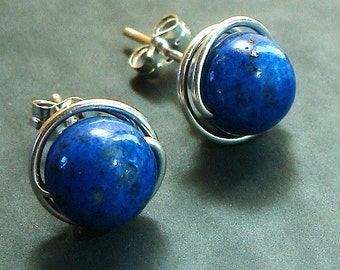 Lapis Studs Lapis Earrings 8mm Lapis Post Earrings Wire Wrapped in Sterling Silver Stud Earrings Lapis Studs