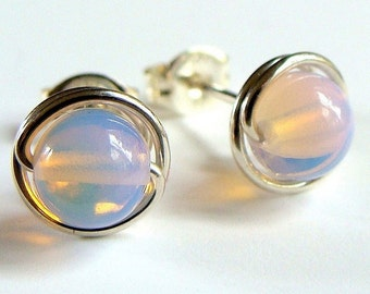 8mm Smooth Pink Sea Opal / Opalite Stud Earrings in Sterling Silver Post Earrings Studs