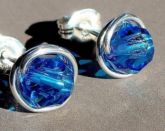 Capri Blue Crystal Studs 8mm Capri Blue Swarovski Crystal Post Earrings in Sterling Silver Stud Earrings Studs
