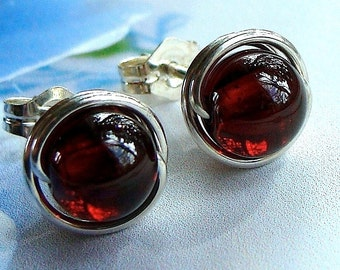 Garnet Studs Garnet Earrinngs 8mm Garnet Post Earrings Wire Wrapped in Sterling Silver Stud Earrings Garnet Studs Birthstone Earrings