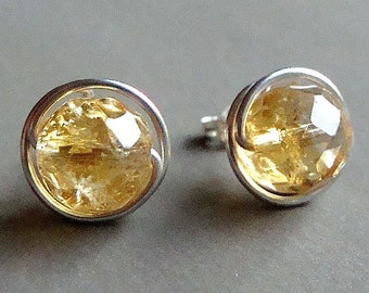 Citrine Earrings 8mm Citrine Post Earrings Wire Wrapped in Sterling Silver Stud Earrings Citrine Studs Birthstone Earrings