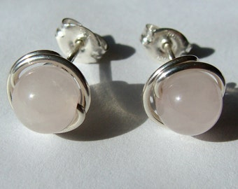 Rose Quartz Studs 8mm Rose Quartz Post Earrings Wire Wrapped in Sterling Silver Stud Earrings