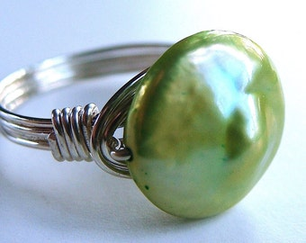 Chartreuse Cultured Coin Pearl Ring Wire Wrapped in Sterling Silver Gemstone Ring