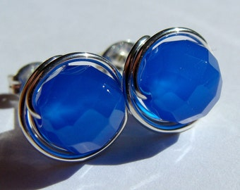 Blue Agate Studs 8mm Faceted Blue Agate Post Earrings Wire Wrapped in Sterling Silver Stud Earrings Studs