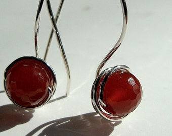 Carnelian Earrings Reddish Carnelian Dangle Earrings Faceted Carnelian Drop Earrings in Sterling Silver