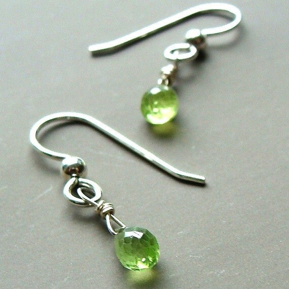 Tiny Peridot Briolette Earrings