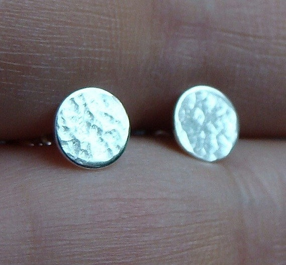 Flat Studs Flat Earrings 6mm Hammered Tiny Disc Studs Post