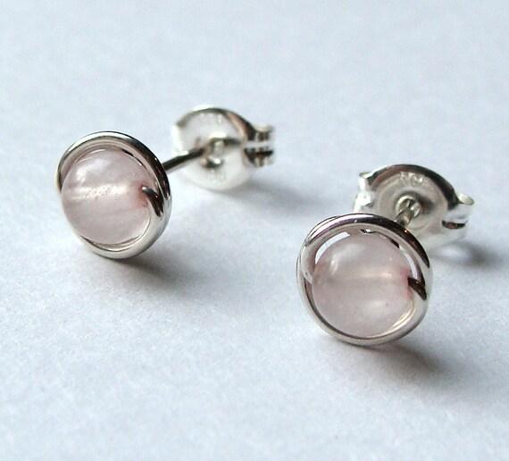 Tiny Rose Quartz Studs Post Earrings in Sterling Silver Stud Earrings