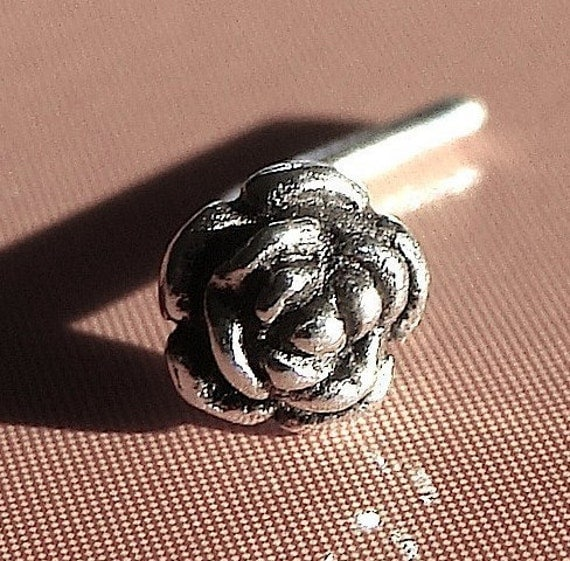Rose Nose Stud Flower Nose Piercing Tiny Rose Flower Sterling Silver