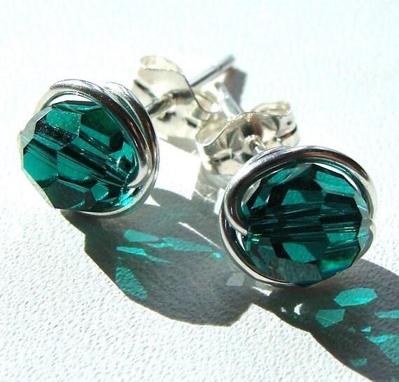 Emerald Green Studs 8mm Swarovski Crystal Post Earrings in Sterling Silver Stud Earrings