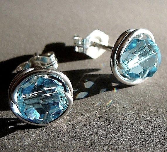 Aquamarine Crystal Studs 8mm Aquamarine Swarovski Crystal Post Earrings Wire Wrapped in Sterling Silver Stud Earrings Studs