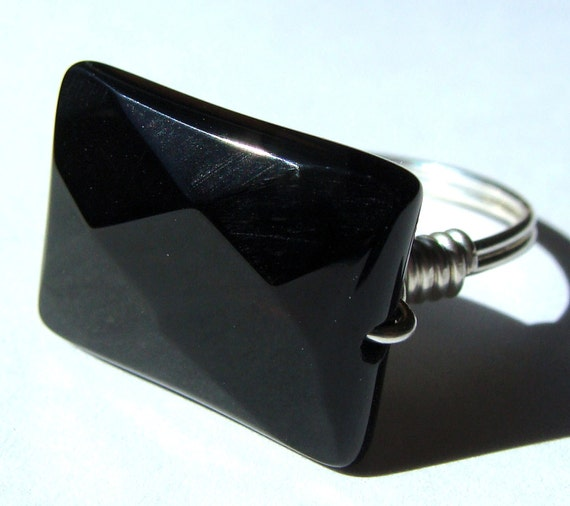 Rectangle Faceted Black Onyx Gemstone Ring Wire Wrapped in Sterling Silver Cocktail Ring