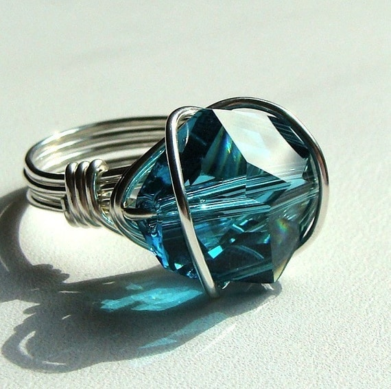 Indicolite Caged Swarovski Crystal and Sterling Silver Ring