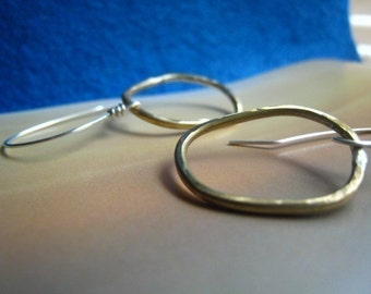 Disheveled Hoop Earrings brass and sterling silver hoop dangles