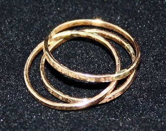Sparkle Rings hammered thin skinny stacking goldfilled stack of 3