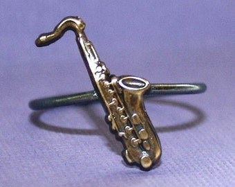Saxophone Ring brass and sterling silver